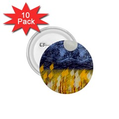 Blue And Gold Landscape With Moon 1 75  Buttons (10 Pack)