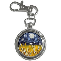 Blue and Gold Landscape with Moon Key Chain Watches