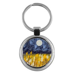 Blue and Gold Landscape with Moon Key Chains (Round)