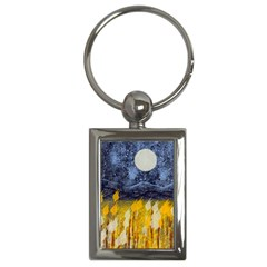 Blue and Gold Landscape with Moon Key Chains (Rectangle)