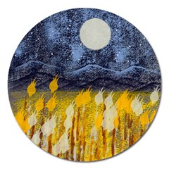 Blue and Gold Landscape with Moon Magnet 5  (Round)