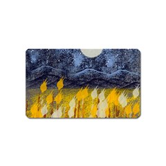 Blue And Gold Landscape With Moon Magnet (name Card)