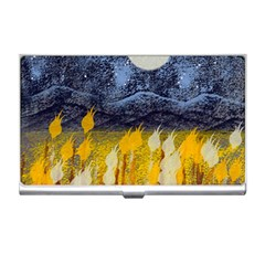 Blue And Gold Landscape With Moon Business Card Holders