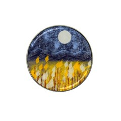 Blue and Gold Landscape with Moon Hat Clip Ball Marker (4 pack)