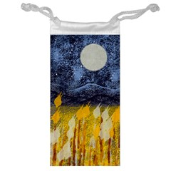 Blue and Gold Landscape with Moon Jewelry Bag