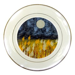 Blue and Gold Landscape with Moon Porcelain Plates