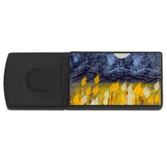 Blue And Gold Landscape With Moon Usb Flash Drive Rectangular (4 Gb)
