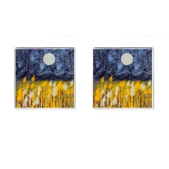 Blue and Gold Landscape with Moon Cufflinks (Square)