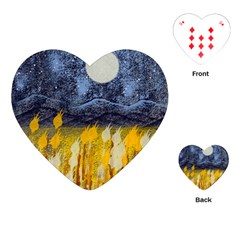 Blue And Gold Landscape With Moon Playing Cards (heart)