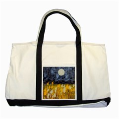 Blue And Gold Landscape With Moon Two Tone Tote Bag