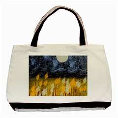 Blue And Gold Landscape With Moon Basic Tote Bag (two Sides)