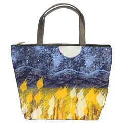 Blue And Gold Landscape With Moon Bucket Bags