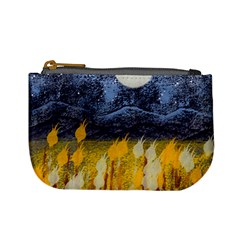 Blue and Gold Landscape with Moon Mini Coin Purses