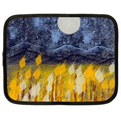 Blue and Gold Landscape with Moon Netbook Case (XXL)