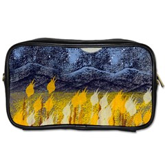 Blue And Gold Landscape With Moon Toiletries Bags 2 Side