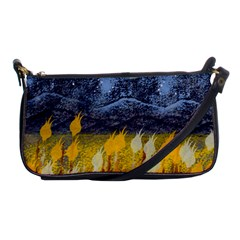Blue And Gold Landscape With Moon Shoulder Clutch Bags