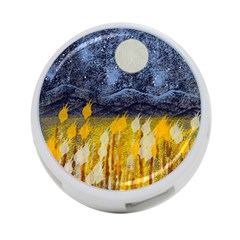 Blue and Gold Landscape with Moon 4-Port USB Hub (Two Sides)