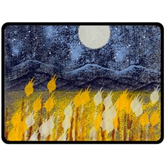 Blue and Gold Landscape with Moon Fleece Blanket (Large)