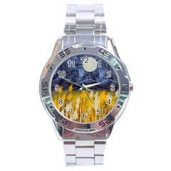 Blue and Gold Landscape with Moon Stainless Steel Analogue Watch