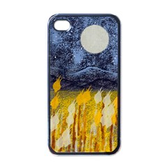 Blue and Gold Landscape with Moon Apple iPhone 4 Case (Black)