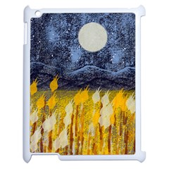 Blue and Gold Landscape with Moon Apple iPad 2 Case (White)