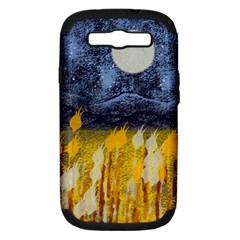 Blue and Gold Landscape with Moon Samsung Galaxy S III Hardshell Case (PC+Silicone)
