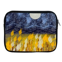 Blue and Gold Landscape with Moon Apple iPad 2/3/4 Zipper Cases