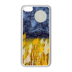 Blue and Gold Landscape with Moon Apple iPhone 5C Seamless Case (White)