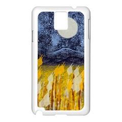 Blue and Gold Landscape with Moon Samsung Galaxy Note 3 N9005 Case (White)