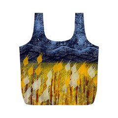 Blue And Gold Landscape With Moon Full Print Recycle Bags (m)