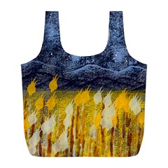 Blue And Gold Landscape With Moon Full Print Recycle Bags (l)