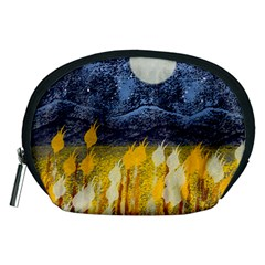 Blue And Gold Landscape With Moon Accessory Pouches (medium)