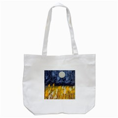 Blue and Gold Landscape with Moon Tote Bag (White)