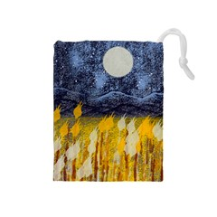 Blue and Gold Landscape with Moon Drawstring Pouches (Medium)