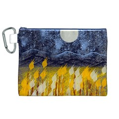 Blue and Gold Landscape with Moon Canvas Cosmetic Bag (XL)