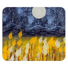 Blue And Gold Landscape With Moon Double Sided Flano Blanket (small)