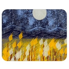 Blue and Gold Landscape with Moon Double Sided Flano Blanket (Medium)