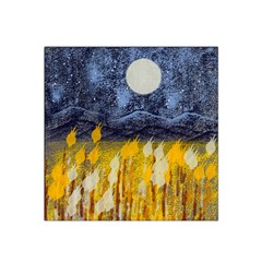 Blue and Gold Landscape with Moon Satin Bandana Scarf