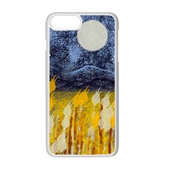 Blue And Gold Landscape With Moon Apple Iphone 7 Plus White Seamless Case