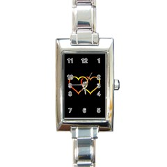 Heart Gold Black Background Love Rectangle Italian Charm Watch