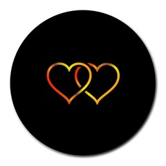 Heart Gold Black Background Love Round Mousepads