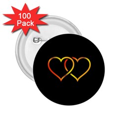 Heart Gold Black Background Love 2 25  Buttons (100 Pack)