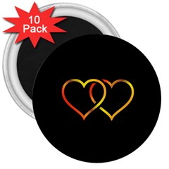 Heart Gold Black Background Love 3  Magnets (10 Pack)