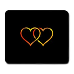 Heart Gold Black Background Love Large Mousepads