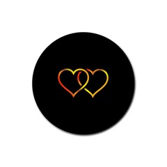 Heart Gold Black Background Love Rubber Coaster (round)