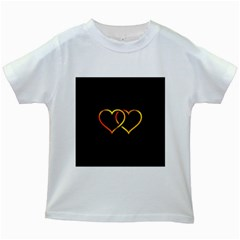 Heart Gold Black Background Love Kids White T Shirts