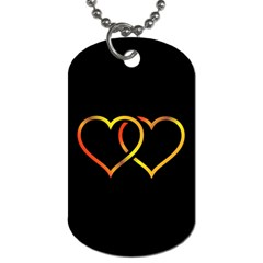 Heart Gold Black Background Love Dog Tag (One Side)