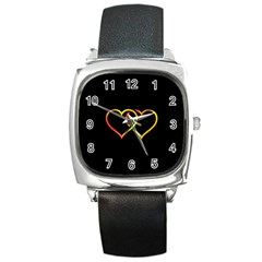 Heart Gold Black Background Love Square Metal Watch