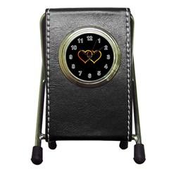 Heart Gold Black Background Love Pen Holder Desk Clocks
