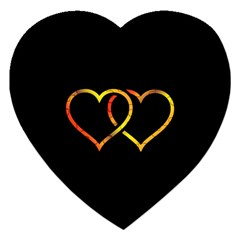 Heart Gold Black Background Love Jigsaw Puzzle (heart)